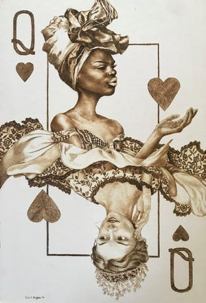 """""""Queens"""" by Erin Mulligan. Pyrography on rag."""