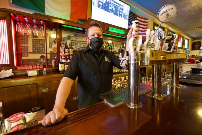 Gordon Cossar, owner of Shamrock Brewing Co. at 108 W. 3rd St. on March 16, 2021.