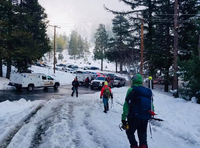 An injured hiker was rescued Saturday, March 13, 2021, after he got caught in an avalanche on Mount Baldy.