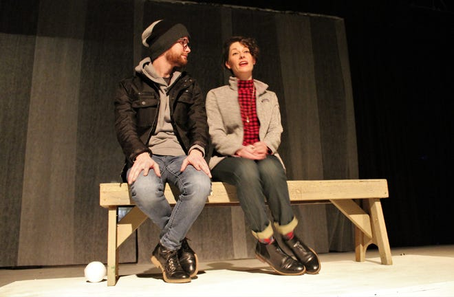"""Pete (Robert Taylor Jr.) and Ginette (Mary Hardegree) get closer -- or farther apart? -- in this rehearsal scene from """"Almost, Maine,"""" Abilene Community Theatre's first production of 2021. Their story is one of nine vignettes of love, loss and relationship in the show."""