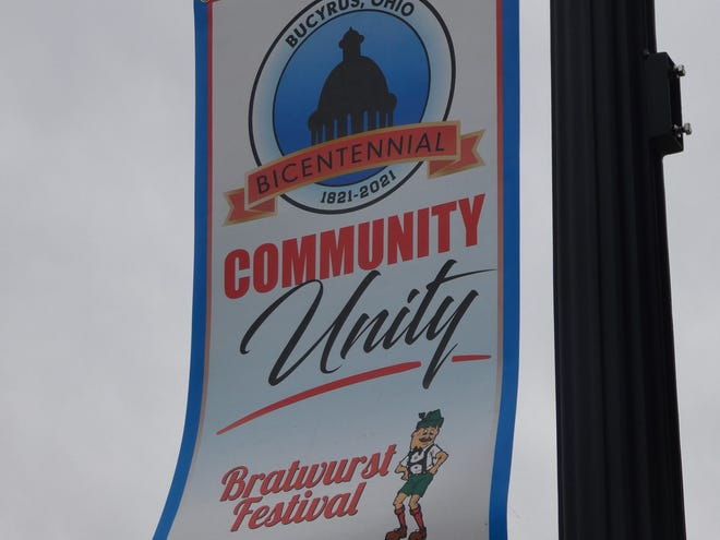 Banners celebrating the city's bicentennial were hung recently in downtown Bucyrus. Businesses and organizations sponsored the banners.