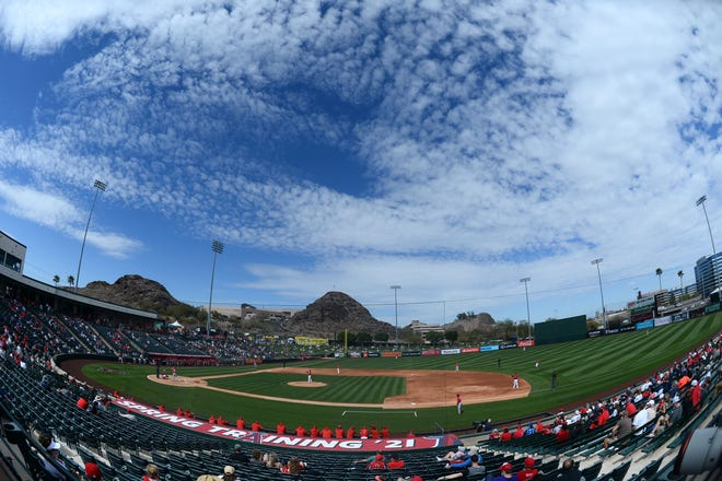 Mar 15, 2021; Tempe, Arizona, USA; A general view of game action between the Los Angeles Angels and the Cincinnati Reds  during the second inning at Tempe Diablo Stadium. Mandatory Credit: Joe Camporeale-USA TODAY Sports