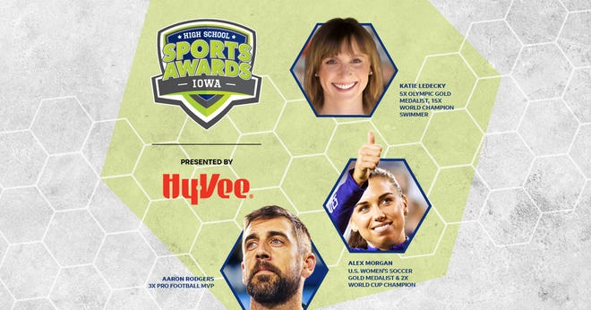 Aaron Rodgers, Alex Morgan and Katie Ledecky will be among a highly decorated group of presenters and guests in the Iowa High School Sports Awards.