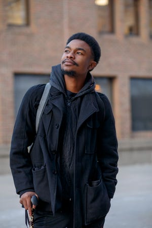 Preston Welborne El, 20, after his last final of the semester Dec. 12 at Oakland Community College Orchard Ridge Campus in Farmington Hills.