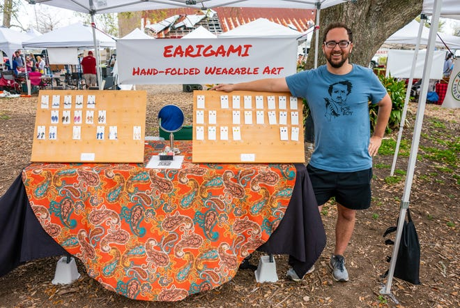 Brent Walden at his Earigami booth on Saturday, March 13, 2021.