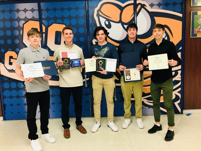 The Lancaster boys' basketball team held their season-ending banquet Monday night. Taking home special awards were, from left to right: Dylan West, Cameron Roudabush, Blake Snezik, Sam Finck and Keaton Phillips.