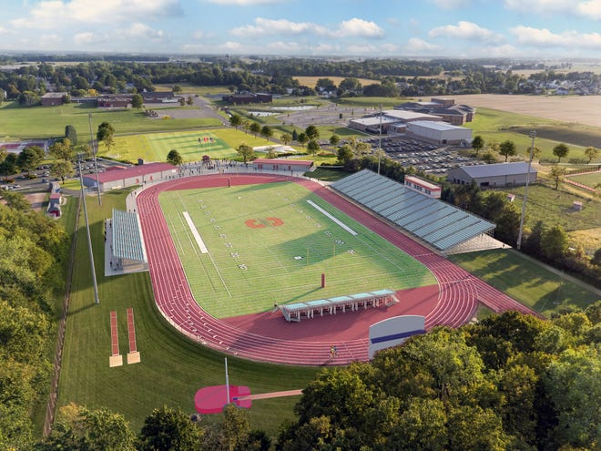 An artist's rendering shows the Shelby football field and stadium, part of the district's $4 million athletic complex.