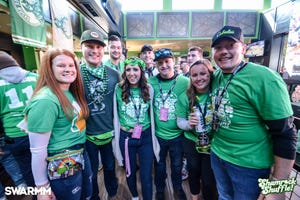 With T-shirts and lanyards, participants gather during the March 7, 2020, Shamrock Shuffle in Milwaukee. The 2021 pub crawl is scheduled for Sept. 18.