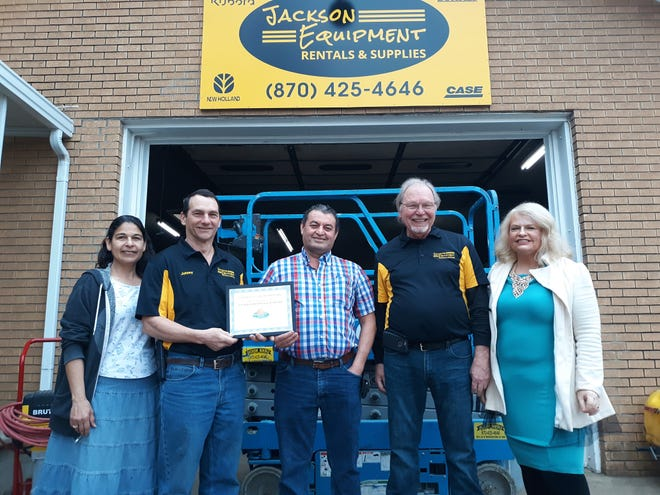 "The Mountain Home Area Chamber of Commerce recently inducted the new owners of Jackson Equipment Rentals and Supplies as members. The business recently announced the transition in ownership on social media: ""We here at Jackson Rentals and supplies are proud to have new owners! Johnny Jagneaux, his wife, Lenora and Oscar Majano! The rest of our usual staff will be there to answer any questions that you have. Stop by and congratulate these wonderful people! Fred, Ray, Joel and Sam Will still be available to answer any of your questions."" Previous owner Fred Stang and his staff have been serving the Twin Lakes Area for 47 years. He says they will continue to rent equipment for most projects, from building construction to home repair and DIY projects. For more information stop by 100 E. 3rd Street in Mountain Home, visit their Facebook page or call (870) 425-4646."