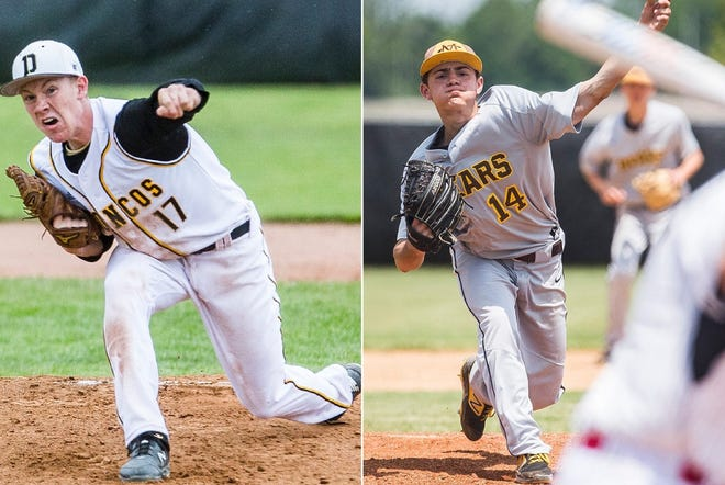 FILE -- Daleville's Cayden Gothrup (left) and Monroe Central's Bryce Deckman (right) pictured. Daleville and Monroe Central were ranked No. 1 in the IHSBCA preseason coaches poll ahead of the 2021 season.