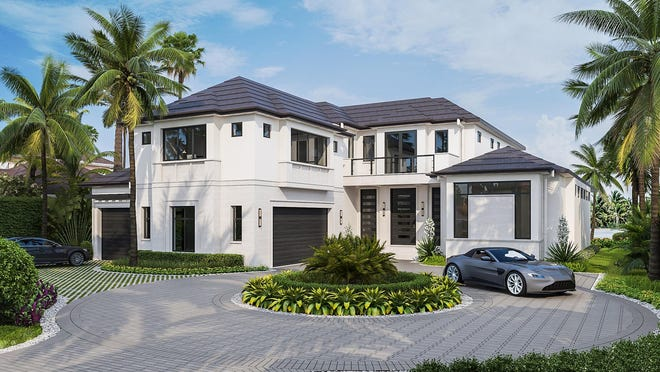Construction is complete on a new London Bay Homes luxury estate on Cutlass Lane in Naples. Already sold, the home's design celebrates its commanding views of Doubloon Bay in Port Royal.