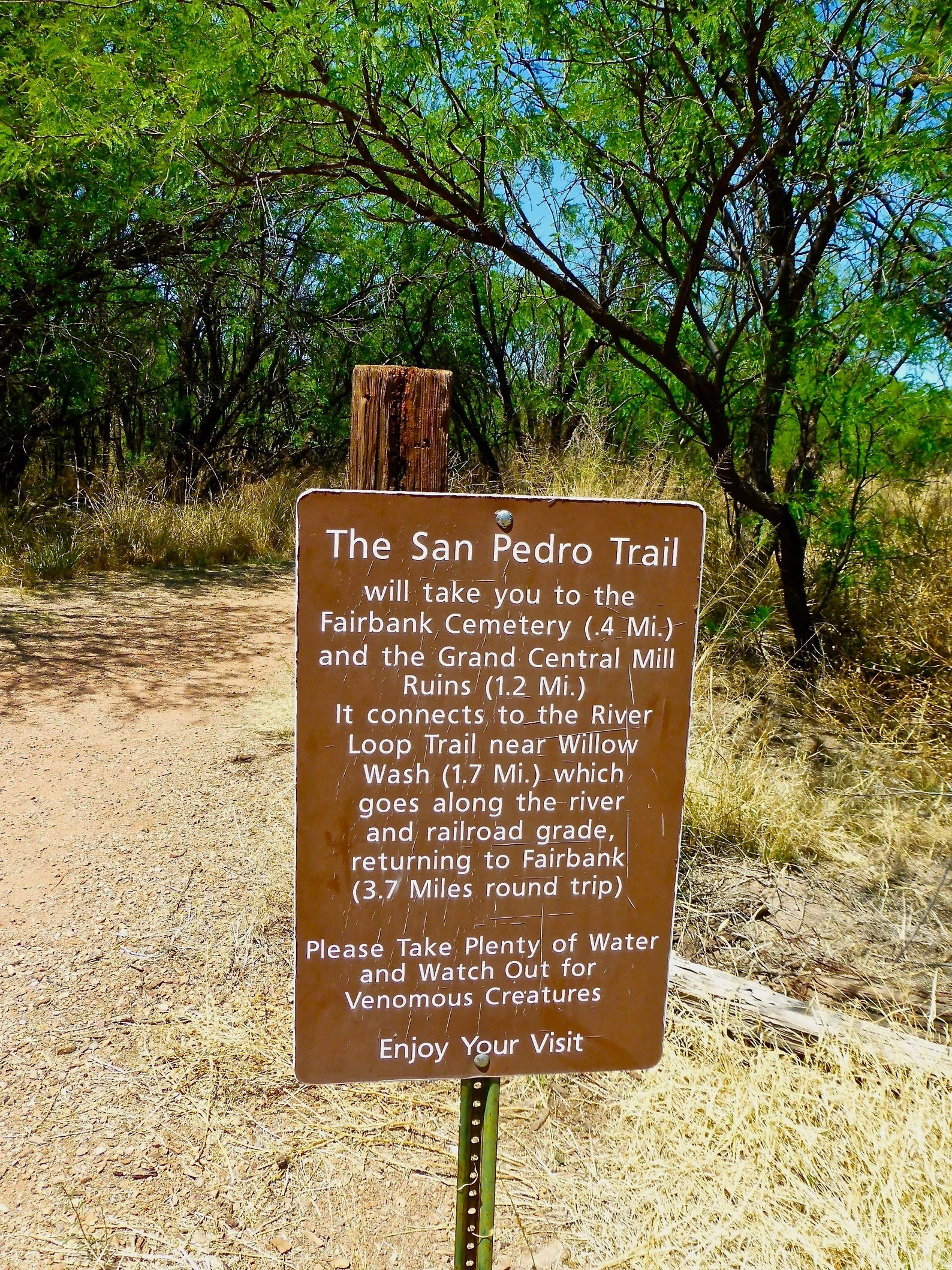 Walking paths from Fairbank in southern Arizona lead to the San Pedro River and additional ruins.