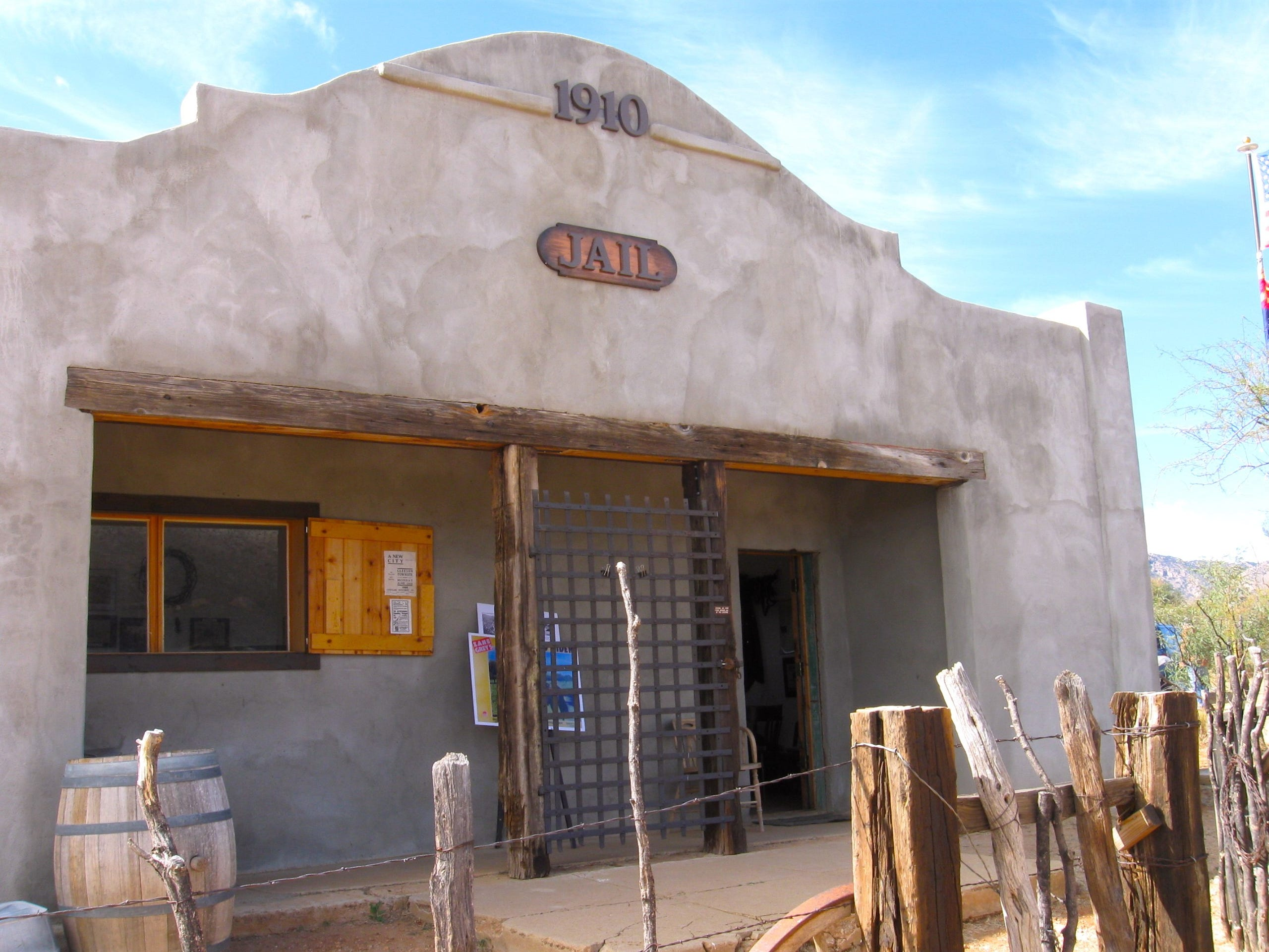 The restored 1910 jail in Gleeson, Arizona, is open on the first Saturday of each month.
