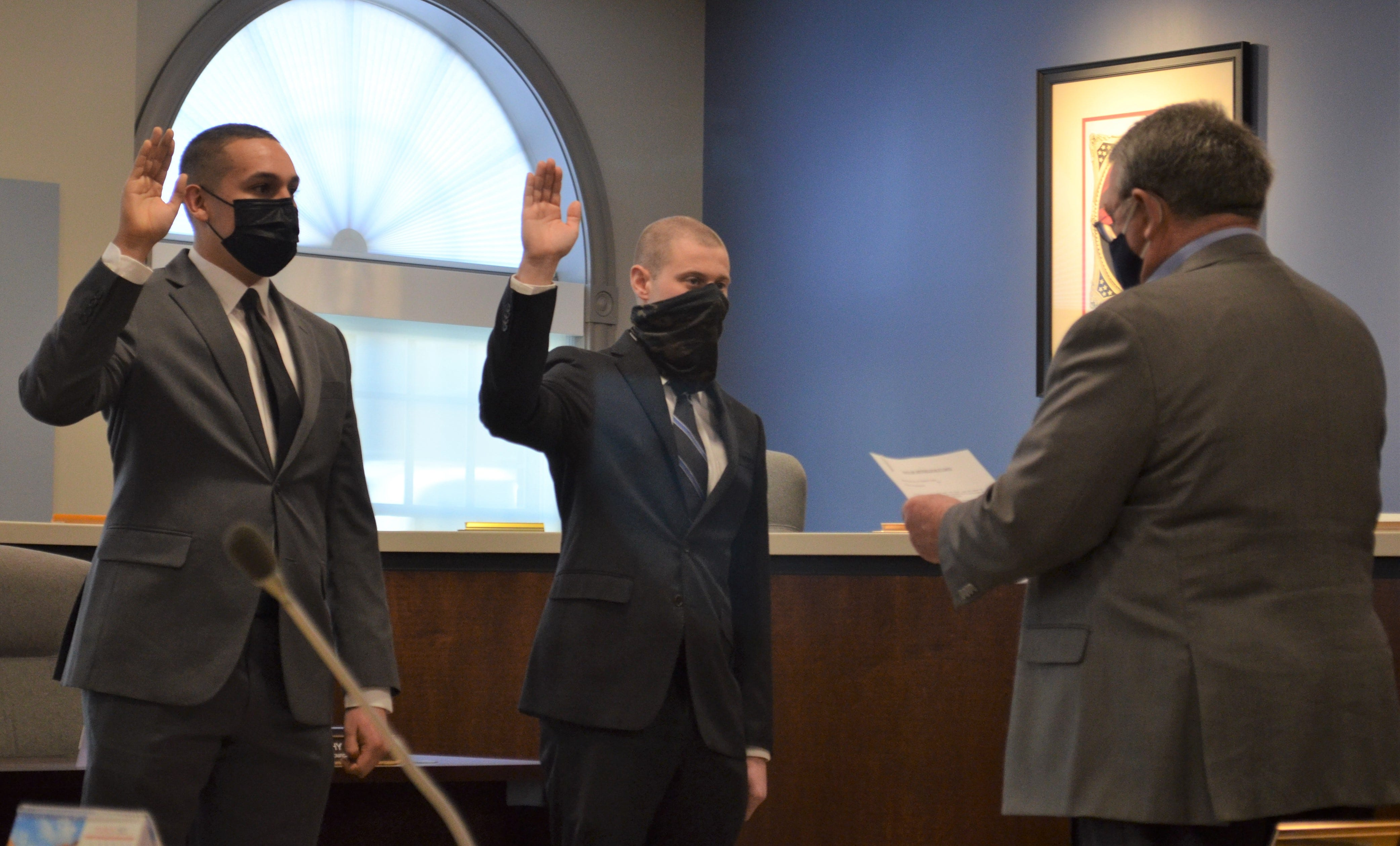 Ernesto Lupian, 24, of Abbottstown, and Conner Eshbaugh, 24, of Chambersburg were sworn into the Chambersburg Police Department by Mayor Walt Bietsch on March 5, 2021. Eric Mavila,23,of Mt. Pocono, (not pictured) was sworn in on Feb. 24, 2021.