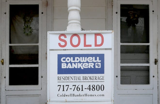 A sign is posted announcing the sale of home on Manchester Street in Glen Rock Tuesday, March 16, 2021. Bill Kalina photo