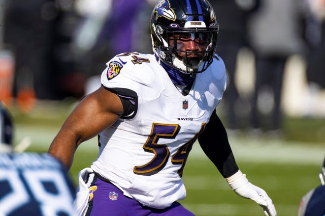 Baltimore Ravens linebacker Tyus Bowser (54) moves in position against the Tennessee Titans during the second quarter of an NFL wild-card playoff football game, Sunday, Jan. 10, 2021, in Nashville, Tenn. Ravens defeat Titans 20-13. (AP Photo/Brett Carlsen)