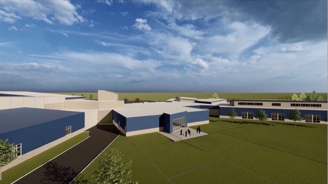 A rendering shows the first phase of an addition to the high school wing at Sioux Falls Lutheran. The school is fundraising for this first phase of construction now, and plans to build more on to the wing at an estimated cost of $3.5 million later down the road.