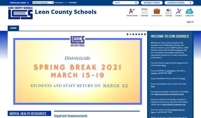 Leon County Schools webpage as restored later Tuesday morning. It was down entirely by early afternoon.