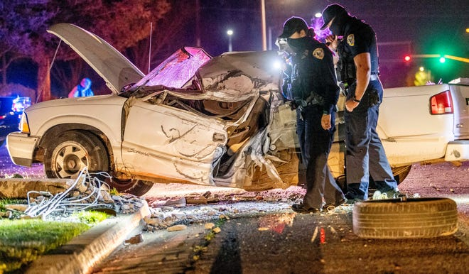 A stolen truck led Visalia Police on a brief pursuit that ended just before 11:30 p.m. when the truck struck a light pole and rolled over on Akers Road just south of Caldwell Avenue. The driver was taken to Kaweah Delta Hospital with moderate injuries.