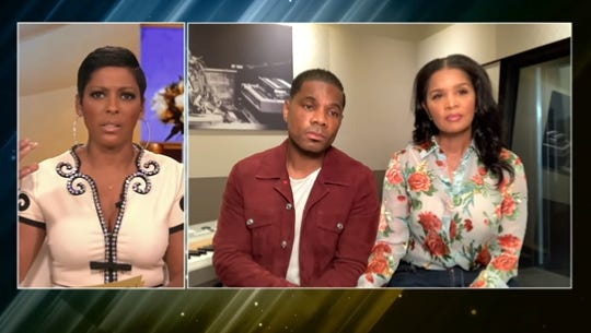 """On Wednesday's episode of """"Tamron Hall,"""" Kirk Franklin, accompanied by his wife Tammy Collins, left, speaks out about a leaked argument between himself and his estranged son Kerrion Franklin that made headlines last week."""