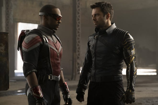"Anthony Mackie (left) and Sebastian Stan star as the respective title superheroes of Marvel's ""The Falcon and the Winter Soldier"" on Disney+."
