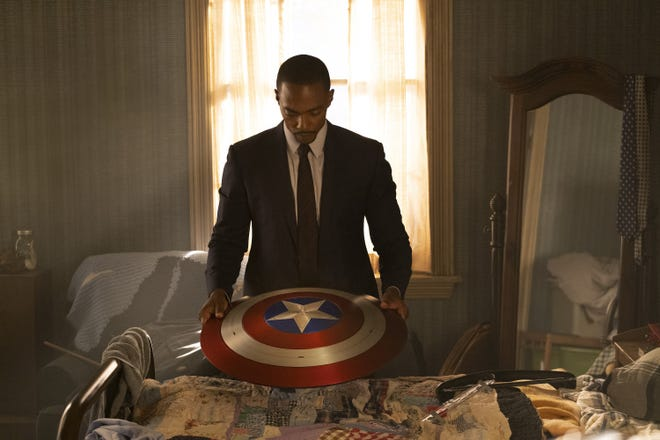 "Sam Wilson (Anthony Mackie) inherited Captain America's shield but doesn't accept the heroic mantle at the beginning of ""The Falcon and the Winter Soldier."""