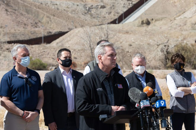 House Minority Leader Kevin McCarthy, R-Calif., visits El Paso, Texas, on Monday with a delegation of Republican lawmakers to tour an immigrant processing facility.