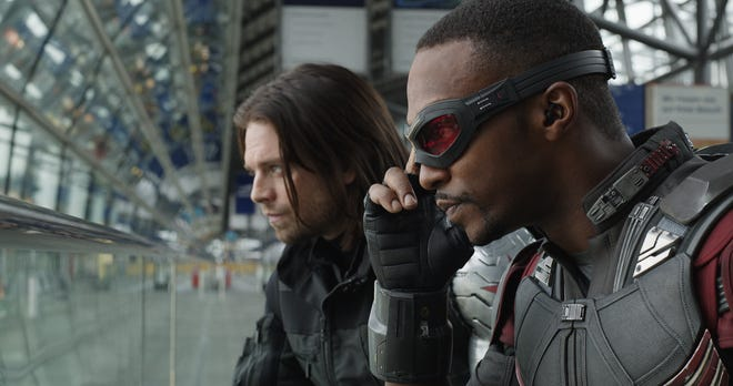 """Winter Soldier (Sebastian Stan, left) and Falcon (Anthony Mackie) were reluctant teammates in 2016's """"Captain America: Civil War."""""""