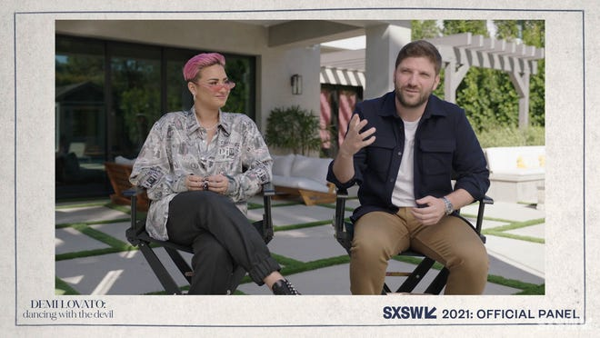 """Demi Lovato and Michael D. Ratner answers questions about the SXSW Film Festival premiere of YouTube Originals docuseries """"Demi Lovato: Dancing with the Devil"""" during SXSW Online on March 16, 2021."""