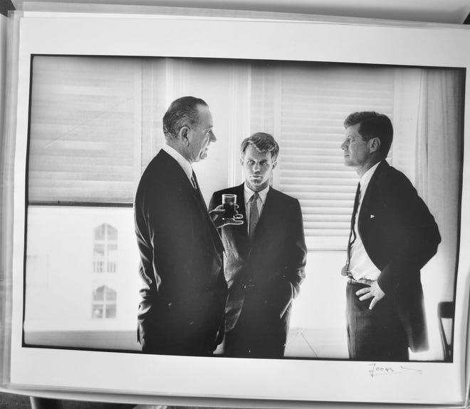 Lyndon B. Johnson, Robert F. Kennedy and John F. Kennedy confer in this photo by Jacques Lowe, whose archive has been acquired by the Briscoe Center at the University of Texas.