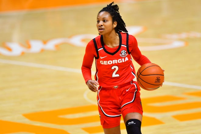 Georgia guard Gabby Connally (2) during a basketball game between the Tennessee Lady Vols and the Georgia Bulldogs at Thompson-Boling Arena in Knoxville, Tenn., on Thursday, January 14, 2021.