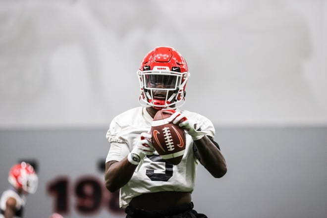 Georgia defensive back Kelee Ringo (5) during the Bulldogs' practice session in Athens, Ga., on Tuesday, March 16, 2021. (Photo by Tony Walsh)