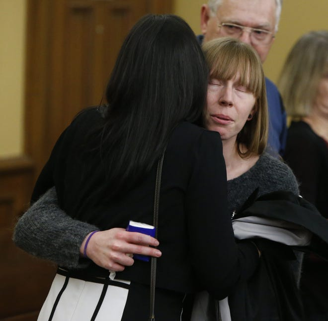Patricia Leasure, the great niece of Margaret Douglas is comforted after Gavon Ramsay, 17, is sentenced to life in prison without parole in Medina County Common Pleas Court in January 2019.