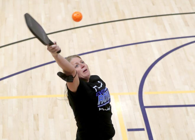 Nicole Summers of Tallmadge plays a game of pickleball at the Tallmadge Rec Center in March. The city is now planning to install two dedicated courts at Lions Park.