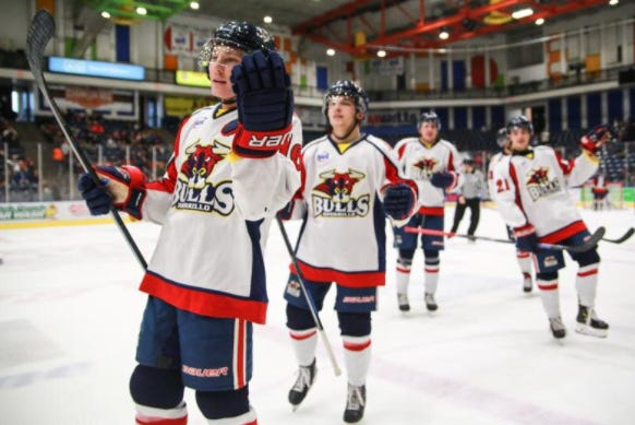 Amarillo Bulls players celebrate after scoring a goal against the Topeka Pilots at the Amarillo Civic Center in this AGN Media file photo.