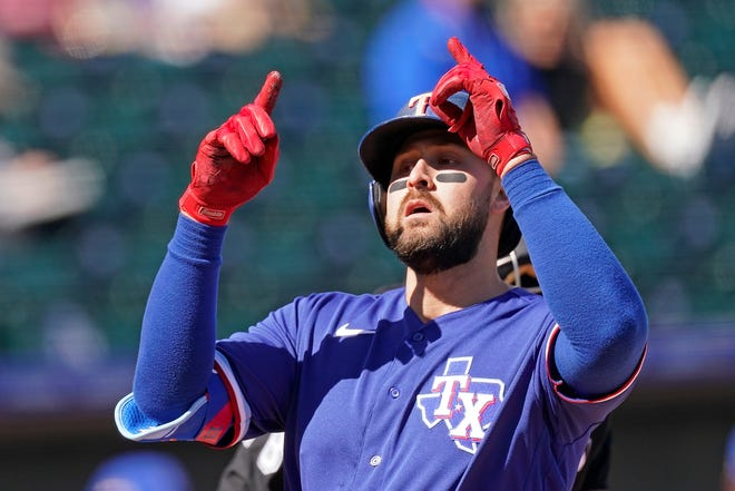 Texas Rangers' Joey Gallo celebrates as he crosses the plate after hitting a two-run home run during the first inning of a spring training baseball game against the Kansas City Royals, in Surprise, Ariz., in this Feb. 28 file photo.