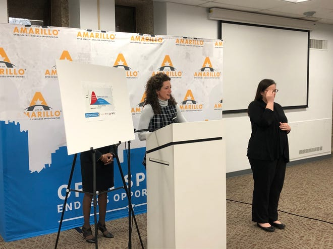 City of Amarillo Mayor Ginger Nelson participates in a news conference March 18, 2020 announcing the first two cases of COVID-19 in the Amarillo community.