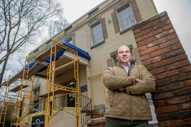 Dickson House owner John Hock, of Hock Development, stands next to the historic house on Telfair Street earlier this week.