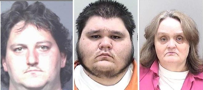 Harry Jasper (from left), Jeremy Briggs and Geneva Jasper are each charged with two counts of neglect of a disabled adult.