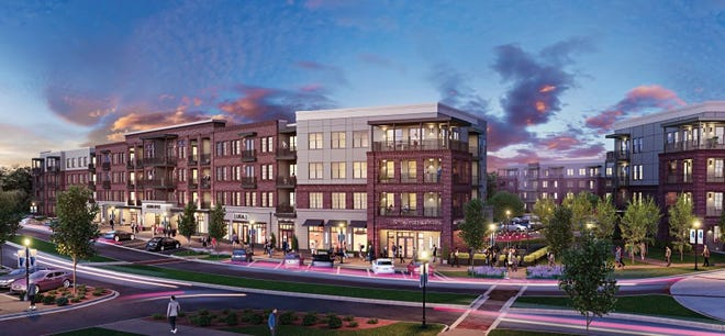 This architectural rendering shows one of the apartment buildings that will be part of a $50 million mixed-use commercial development in Columbia County's Evans Towne Center.