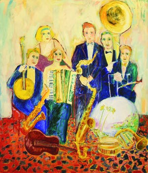 """""""Big Band"""" by Ben Cameron hangs at the Columbia Public Library"""