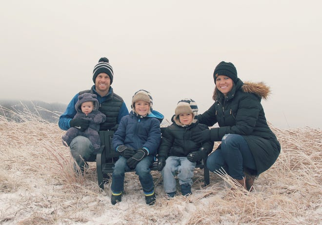 Brock Anundson is pictured with his family. Anundson, a former hockey player at Minnesota Crookston, was recently hired as the next athletic director of the University of Alaska Fairbanks and will start his new job in July.