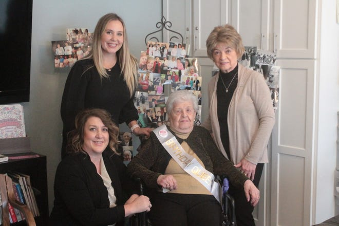 Helen Destephen was joined by her daughter Norma Longinie of New Concord, granddaughter Lori Bubenchik of Norwich and great-granddaughter Lexi Bubenchik from Texas for a four-generation photo to celebrate her 100th birthday.