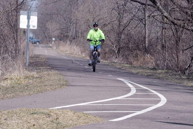 Mike Davis, 68, picked up the Heartland Trail in Marshallville and rode to Forrer Road, just outside of Orrville on Tuesday. The trail has a gap between Forrer Road and Allen Avenue where it picks back up and continues to the Orrville Union Depot on West Market Street. Davis rode 1,500 miles last year and hopes to ride 2,000 miles this year.