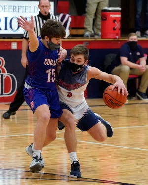 Britton Deefield's Nico Johnson handles the ball during a game against Lenawee Christian early in the 2021 season.
