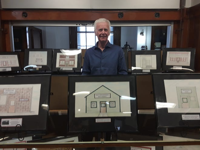 Keith Warner celebrated the history of his hometown, Harlow with an art exhibit at the Lake Region Heritage Center.
