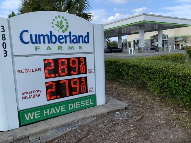 A gas price sign at the Cumberland Farms gas station/convenience store at 3803 S. Clyde Morris Blvd. in Port Orange is seen here on Tuesday, March 16, 2021. The average price for regular gas in the Volusia-Flagler area was $2.85 a gallon, up from $2.45 a month ago, according to AAA Auto Club.