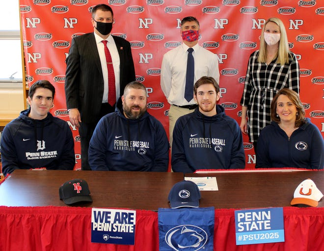 Making his commitment to continue his academic and baseball careers at Penn State Harrisburg is North Pocono senior Kyle Serine. Joining him to commemorate the moment were: (front row, from left): Casey Serine, Damon Serine, Kyle Serine, Felicia Serine. Back row: Ron Collins, Principal; Brian Jardine, Baseball Coach; Eliza Maganzini, Athletic Director.