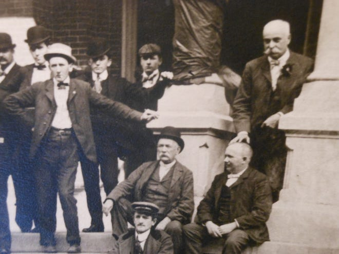William H. Lee, Esq. is at upper right in this portion of a group picture, date unknown, taken at the Wayne County Courthouse front steps.