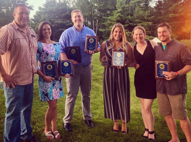 Awards abound from an end-of-year celebration honoring recently roostered (aged out) Jaycees. Left to right: John Stinavage, Stephanie Schuman, Eric Avery, Rozalyn Burke, Elizabeth Kedrick, Jason Nacinovich